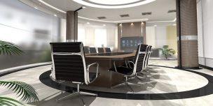 プロダクションとは、という記事中のイメージ画像です。おしゃれなオフィスに大きな会議テーブルが置かれています。