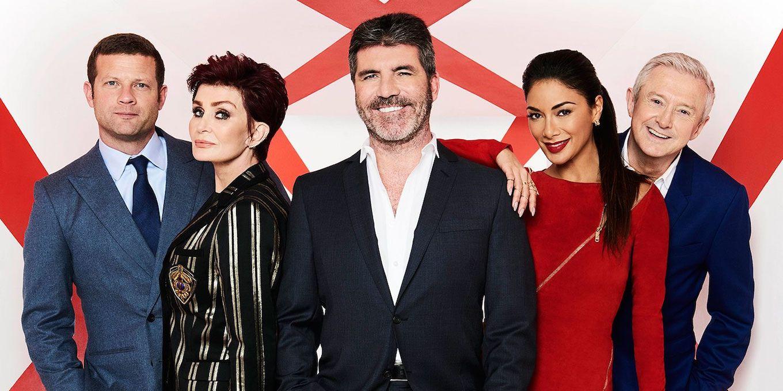 イギリスのオーディション番組xfactorについて書かれた記事中のイメージ画像です。番組の出演者が笑顔で横一列でならんでいます。